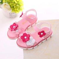 Pretty Flower Decor Velcro Sandals for Toddler Girl and Girl
