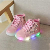 Fashionable Rhinestone and Pearl Decor LED Ankle Shoes for Toddler Girl and Girl