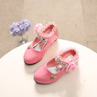 Toddler / Girl Flower and Rhinestone Decor Flats