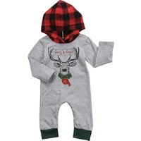 Lovely Deer Print Long-sleeve Plaid Hooded Jumpsuit for Baby