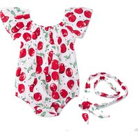One-piece Flutter-sleeve Apple Pattern Swimsuit and Headband for Baby Girl
