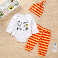 3-piece Trendy Letter Print Romper, Striped Pants and Hat Set for Baby