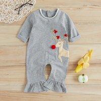 Christmas Lovely Elk Design Long-sleeve Jumpsuit for Baby