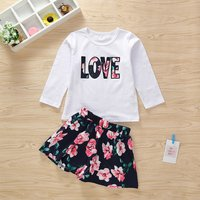 2-piece Pretty Floral LOVE Applique Long-sleeve Tee and Skirt Set