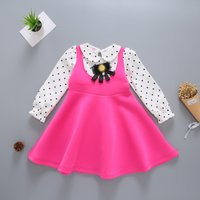 Trendy Faux-two Dotted Bow Decor Dress