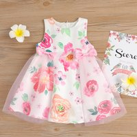 Sweet Floral Print Tulle Bowknot Sleeveless Dress for Baby and Toddler