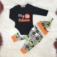 Fun Halloween Letter Print Bodysuit, Pants and Hat Set for Baby