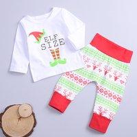 Festive Christmas Long-sleeve Top and Reindeer Pants Set for Baby