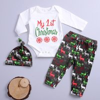 3-pieces Christmas Letter Print Bodysuit and Deer Pattern Pants for Kids