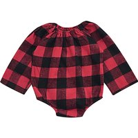 Baby Girl's Plaid Elasticized Collar Red Cotton Bodysuit