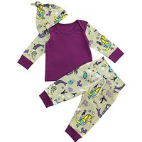 3-piece Cute Mermaid/Animal Print Cotton Top, Pants and Hat for Baby