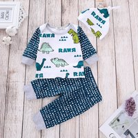 3-piece Cute Dinosaur Polka Dotted Top, Pants and Hat Set for Baby