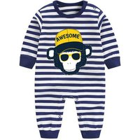 AWESOME Monkey Print Grey Long-sleeve Jumpsuit for Baby