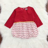 Bright Long-sleeve Bodysuit in Red for Baby Girl