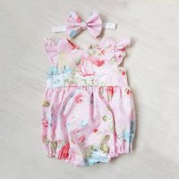Colorful Back Opening Floral Bodysuit with Headband for Baby Girl