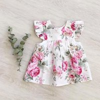 Pretty Floral Flounce-sleeve Dress for Baby and Toddler Girl