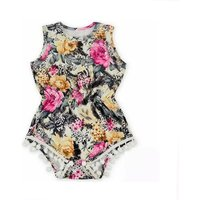Pretty Floral Sleeveless Bodysuit for Baby Girl