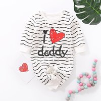 """Cute """"I love daddy"""" Printed  Striped Long-sleeve Jumpsuit"""