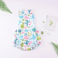 Pretty Cactus Print Overall Bodysuit in White for Baby Girl