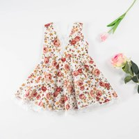 Pretty Floral Cinched Sleeveless Dress in White for Baby and Toddler Girl