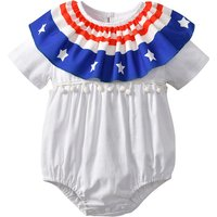 Stylish Star and Stripe Print Tassel Decor Short-sleeve Bodysuit for Baby Girl
