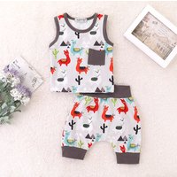 2-piece Cute Alpaca Print Tank and Shorts Set for Baby Boy