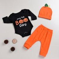 Stylish Pumpkin Print Long-sleeve Romper and Pants Hat Set for Baby Boy