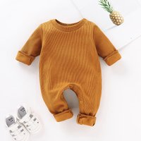Comfy Ribbed Long-sleeve Jumpsuit for Newborn Baby