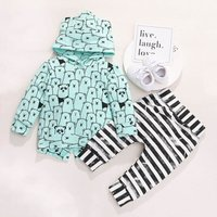 3-piece Cute Bear Allover Hoodie, Striped Pants and Hat Set for Baby Boy