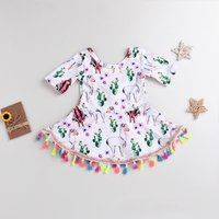 Trendy Tasseled Alpaca Patterned Backless Half-sleeve Dress for Baby and Toddler Girl