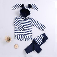 Stylish Striped Long-sleeve Hooded Top and Pants Set for Baby