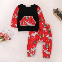 2-piece Stylish Christmas Graphic Patterned Long-sleeve Top and Pants Set for Toddler