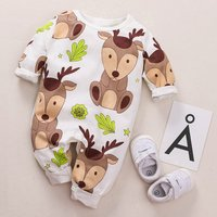 Stylish Deer Printed Long-sleeve Jumpsuit for Baby