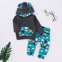Lovely Cat Patterned Long-sleeve Hoodie and Pants Set
