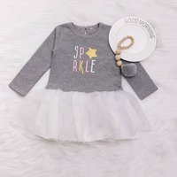 Beautiful Letter Printed Long-sleeve Dress for Baby and Toddler