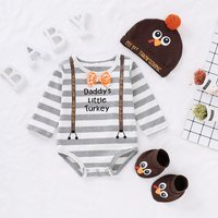 Stylish Thanksgiving Pattern Long-sleeve Romper, Socks and Hat Set