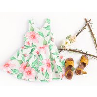 Pretty Matching Floral Sleeveless Dress and Bodysuit for Sisters
