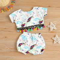 Trendy Unicorn Design Tee and Shorts Set for Baby
