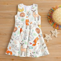 Cute Cartoon Animals Sleeveless Dress for Baby and Toddler Girls