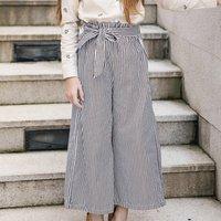 Trendy Stripes Pattern High Waist Pants for Girls