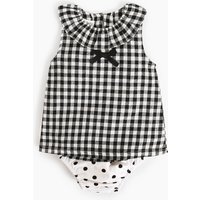Cute Plaid Bow Decor Ruffled Sleeveless T-shirt and Dotted Underwear