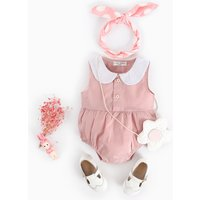 Comfy Solid Peter Pan Collar Sleeveless Bodysuit for Baby Girl