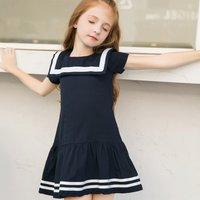 Lovely Navy Style Short-sleeve Dress for Girls