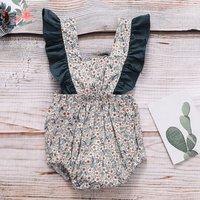 Sweet Floral Ruffled Strap Bodysuit for Baby Girl