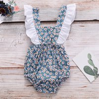 Pretty Floral Ruffled Strap Bodysuit for Baby Girl