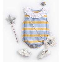 Trendy Ruffle Collar Striped Sleeveless Bodysuit for Baby Girl