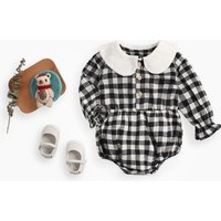 Pretty Plaid Doll Collar Flare-sleeve Bodysuit for Baby Girl