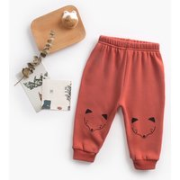 Warm Fleece-lining Animal Print Splice Pants