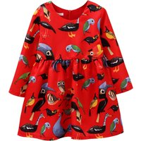 Stylish Bird Patterned Long-sleeve Dress in Red
