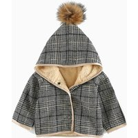Baby's Plaid Fleece Lined Hooded Long-sleeve Coat Unisex
